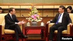 2018年1月8日法国总统马克龙在中国北京钓鱼台国宾馆会见中国国家主席习近平。