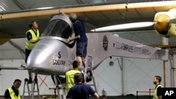 Solar Impulse is prepared for second leg of the 2013 Across America mission, Phoenix, Arizona, May 22, 2013.