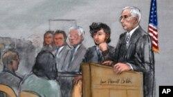 Bị can Dzhokhar Tsarnaev và các luật sư bào chữa William Fick, Judy Clarke, và David Bruck, nghe phán quyết của bồi thẩm đoàn, ngày 8/4/2015.
