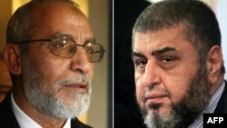 A combo shows Khairat el-Shater (R), then presidential candidate of Egypt's Muslim Brotherhood, on April 9, 2012 and Mohammed Badie (L) at a news conference in Cairo, January 16, 2010.