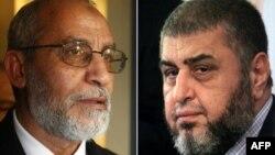 Hai ông Mohammed Badie (trái) và Khairat el-Shater
