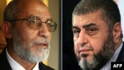 A combo shows Khairat el-Shater (R), then presidential candidate of Egypt's Muslim Brotherhood, holding a press conference in Cairo on April 9, 2012 and Mohammed Badie (L), after he was appointed as the new leader of the Muslim Brotherhood, addressing a n