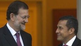 Ollanta Humala recibe al primer ministro español Mariano Rajoy en Palacio de Gobierno.