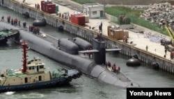 미 해군의 핵추진 잠수함 오하이오함이 지난 7월 한국 부산항에 기항했다. (자료사진)