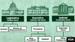 Amerikada hakimiyyət üç qanad - Prezident, Konqres və Ali Məhkəmə - arasında bölünüb.