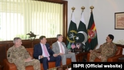 General John Nicholson, Commander Resolute Support Mission in Afghanistan and Ambassador Richard Olson, U.S. Special Representative for Afghanistan and Pakistan meet General Raheel Sharif, Chief of Army Staff (COAS) at GHQ.