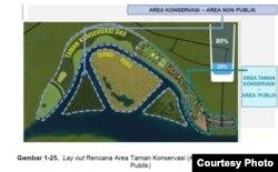 Lay Out rencana area taman konservasi berdasarkan dokumen analisis dampak lingkungan hidup (Andal) Rencana kegiatan Penataan Sungai Poso. Foto : Screen shot dokumen andal
