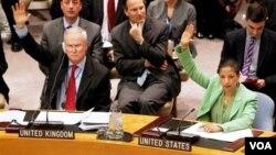 Dubes Inggris untuk PBB Sir Mark Lyall Grant (kiri) dan Dubes AS untuk PBB Susan Rice mengangkat tangan untuk menyatakan setuju dengan opsi zona larangan terbang dalam pemungutan suara Dewan Keamanan PBB, Kamis (17/3).
