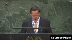 김성 유엔주재 북한 대사 9일 국제원자력기구(IAEA) 연례보고서를 주제로 열린 유엔총회 회의에서 발언하고 있다. United Nations.