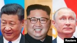 도널드 트럼프 미국 대통령, 시진핑 중국 국가주석, 김정은 북한 국무위원장, 블라디미르 푸틴 대통령.