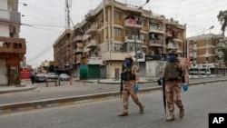 រូបឯកសារ៖ កងកម្លាំងយោធាអ៊ីរ៉ាក់កំពុងយាមល្បាតនៅទីក្រុង Baghdad ប្រទេសអ៊ីរ៉ាក់ កាលពីថ្ងៃទី៧ ខែមេសា ឆ្នាំ២០២០។