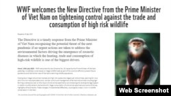 Hôm 24/7/2020, Tổ chức Quốc tế về Bảo tồn Thiên nhiên (WWF) hoan nghênh một chỉ thị mới của Thủ tướng Chính phủ Việt Nam về việc dừng nhập khẩu động vật hoang dã.