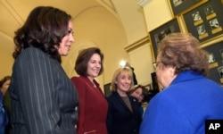 Sen.-elect Kamala Harris, D-Calif., Sen.-elect Catherine Cortez Masto, D-Nev., Sen.-elect Maggie Hassan, D-N.H., and Sen. Amy Klobuchar, D-Minn. on Capitol Hill Nov. 15, 2016.