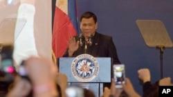 菲律宾总统杜特尔特10月19日星期三在中国北京发表演说