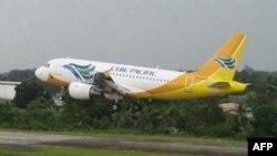 Chiếc Airbus của hãng Cebu Pacific đang đáp xuống sân bay ở thành phố Tagbilaran, Philippines