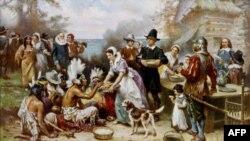 Lễ Tạ Ơn đầu tiên được cử hành ở Plymouth, nay là bang Massachusetts, di dân định cư đã cùng với người da đỏ thuộc một bộ lạc địa phương ăn mừng vào mùa thu hoạch năm 1621