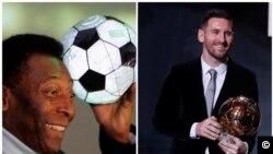 Foto-montagem Pelé e Messi