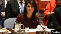 Đại sứ Mỹ tại Liên hiệp quốc Nikki Haley tại một cuộc họp của Hội đồng Bảo an LHQ.