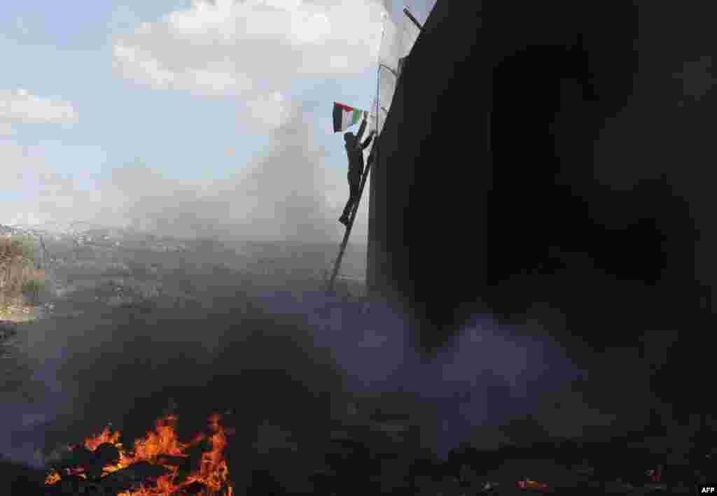 A demonstrator climbing a ladder fixes a Palestinian flag into the barbed wire topping Israeli's controversial separation barrier in the occupied West Bank village of Bilin near Ramallah.