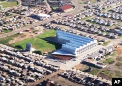 An aerial view of the Red Location Museum, situated in Port Elizabeth's sprawling New Brighton township ... It's the first such memorial in the world to be built in the middle of an impoverished shantytown ...