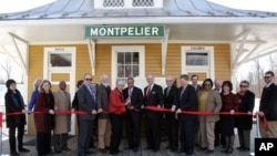 The 'White' and 'Colored' entrances are clearly marked at the reopening dedication ceremony of the Montpelier train depot.