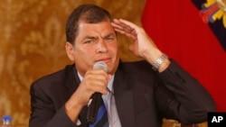FILE - Ecuador's President Rafael Correa.