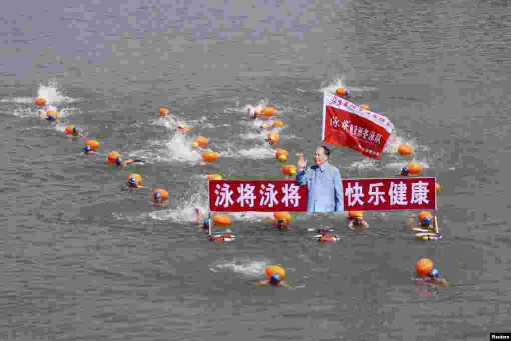 Participants swim with a portrait of late Chinese Chairman Mao Zedong in the Hanjiang River, a large branch of the Yangtze River in Xiangyang, Hubei province, to celebrate the upcoming 49th anniversary of Mao swimming in the Yangtze River, local media reported.
