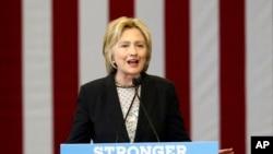 美国民主党推定总统候选人希拉里·克林顿在俄亥俄哥伦布市的一所职业学校发表讲话。(2016年6月21日)