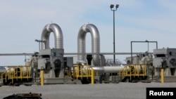FILE - A TransCanada pipeline pump station operates outside Steele City, Nebraska, March 10, 2014.
