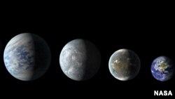 De izquierda a derecha: Kepler-69c, Kepler-62e, Kepler-62f, y La Tierra (todas ilustraciones excepto nuestro planeta).