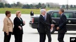 Barack Obama arrive a Flint, Michigan, 4 mai 2015