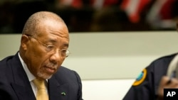FILE - Former Liberian President Charles Taylor, during his appeal judgement at the Special Court for Sierra Leone (SCSL) in Leidschendam, near The Hague, Netherlands, Sept. 26, 2013.