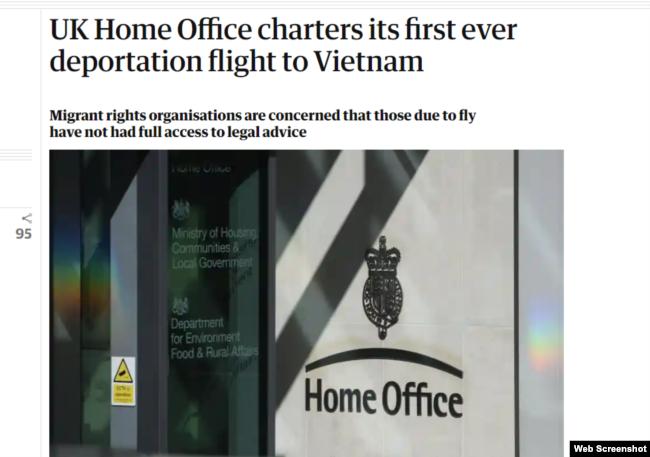 Phần tựa bài báo của trang The Guardian ngày 20/4/2021. Photo The Guardian.
