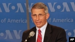 Dr. Anthony Fauci gives a media briefing at VOA, 7 July 2010
