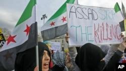 反敘利亞總統阿薩德的示威者星期一在大馬士革舉行抗議活動