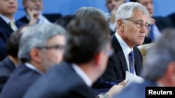 U.S. Defense Secretary Chuck Hagel attends a NATO defence ministers meeting at the Alliance headquarters in Brussels, Belgium, Oct. 22, 2013.