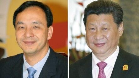 中国国家主席、中共中央总书记习近平(右),台湾执政党国民党主席朱立伦(左)