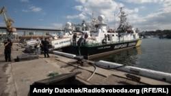 Кораблі Морської охорони ДПСУ в пункті постійного базування, у Воєнній гавані порту Одеса