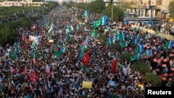 کراچی میں جماعت اسلامی کا روہنگیا مسلمانوں کی حمایت میں مظاہرہ۔ 10 ستبمر 2017