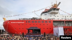 Crowds gather for the naming ceremony of the polar research ship RRS Sir David Attenborough at Cammell Laird shipyard in Birkenhead, Britain, Sept. 26, 2019. (Reuters photo)
