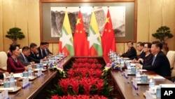 昂山素姬與中國國家主席習近平在北京釣魚台國賓館會談(2016年8月19日資料照)