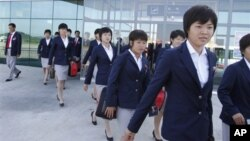 지난해 8월 일본에서 열린 20세 이하 여자 축구 월드컵에 참가한 북한 축구팀. (자료사진)
