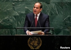 Egypt's President Abdel Fattah el-Sisi addresses the 74th session of the United Nations General Assembly at U.N. headquarters in New York City, New York, Sept. 24, 2019.