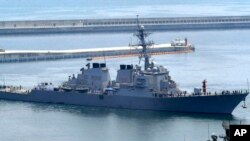 美國海軍科蒂斯•威爾伯號驅逐艦(資料圖片)