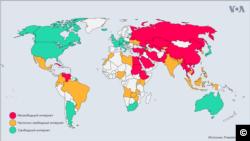 Báo cáo Freedom on the Net 2019 (Tự do trên Mạng 2019), do tổ chức Freedom House công bố hôm 5/11 xếp Việt Nam vào danh sách các nước không có tự do Internet (Màu đỏ trên bản đồ thế giới)
