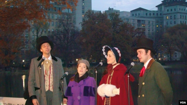 A chorus dressed in colonial costume sing a Christmas song in New York's Central Park.