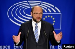 FILE - European Parliament President Martin Schulz gives a statement after the conference of Presidents at the European Parliament in Brussels, Belgium, June 24, 2016.