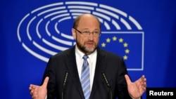Pemimpin Parlemen Eropa Martin Schulz di Brussels, Belgia (24/6). (Reuters/Eric Vidal)