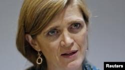 사만사 파워 유엔주재 미국 대사가 지난달 20일 인도 뉴델리에서 국제 관계에 대한 연설을 하고 있다. (자료사진)