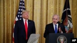 Donald Trump e Benjamin Netanyahu na Casa Branca